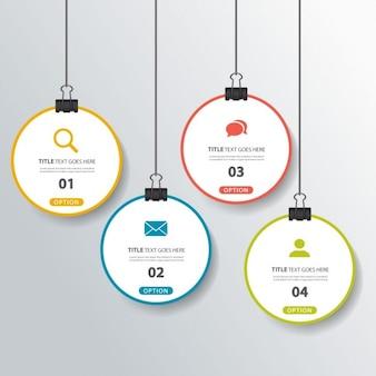 Cuatro opciones colgantes para infografías