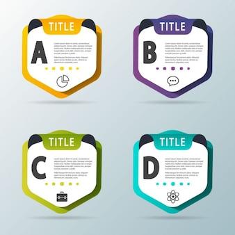 Cuatro opciones en forma de escudos para infografías