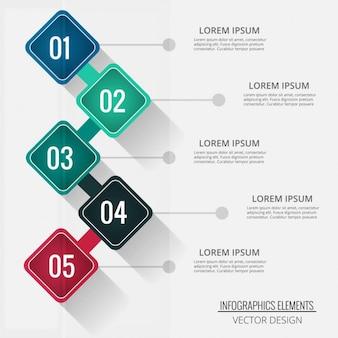 Cuatro opciones en forma de rombo para infografías