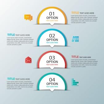 Cuatro opciones semicirculares para infografías