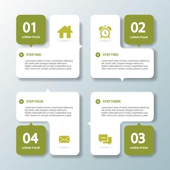 Cuatro opciones verdes para infografías