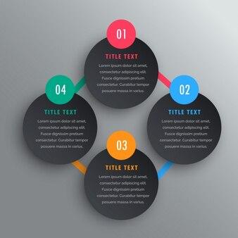 Cuatro pasos en diseño infográfico