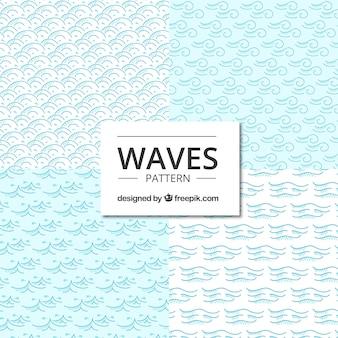 Cuatro patrones azules con forma de olas