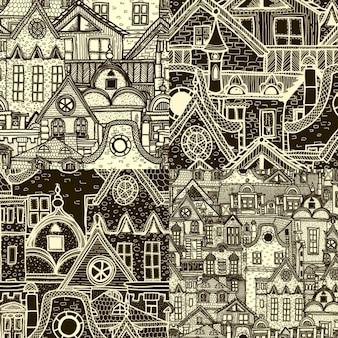 Cuatro patrones de ciudad dibujados a mano