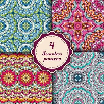 Cuatro patrones de mandalas sin costura