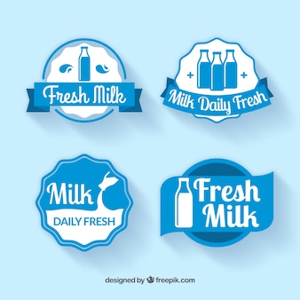 Cuatro pegatinas de leche