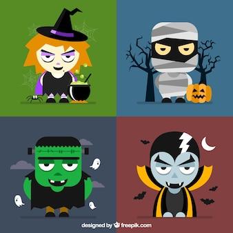 Cuatro personajes de halloween en los fondos diferentes