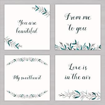 Cuatro tarjetas de acuarela con mensajes de amor