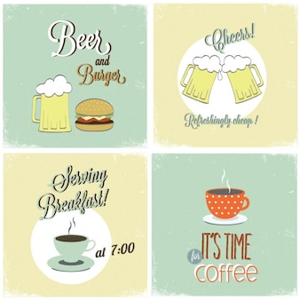 Cuatro tarjetas de bebidas