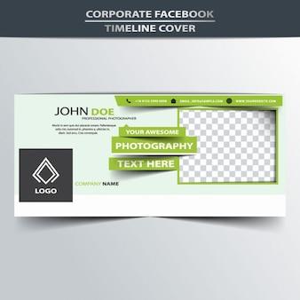 Cubierta verde de línea de tiempo de facebook