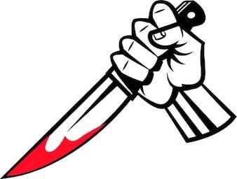 Cuchillo ensangrentado en la mano
