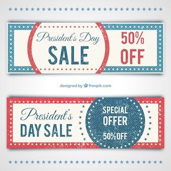 Cupones de descuento vintage del día del presidente