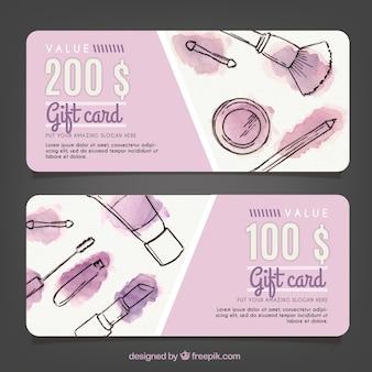 Cupones de regalo de bocetos de maquillaje con manchas de acuarela