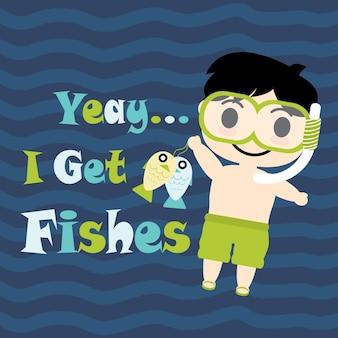 Cute Boy con gafas de buceo vector de dibujos animados, postal de verano, papel tapiz y tarjeta de felicitación, diseño de la camiseta para niños