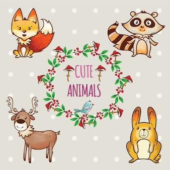 Cute conjunto de animales con marco