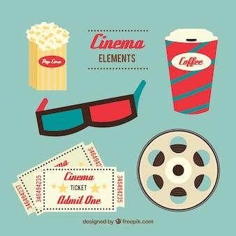 Cute elementos del cine en diseño plano