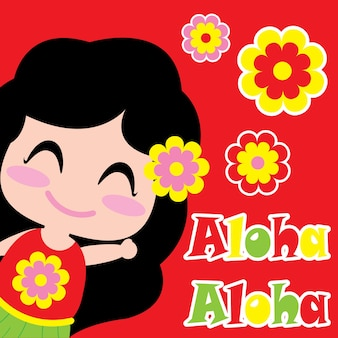 Cute girl dice Aloha vector de dibujos animados, postal de verano, papel tapiz y tarjeta de felicitación, diseño de camiseta para niños