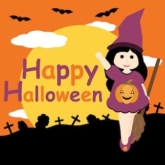 Cute niña como la bruja en la tumba y la noche de fondo vector de dibujos animados, postal de Halloween, papel tapiz y tarjeta de felicitación, diseño de la camiseta para niños