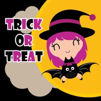 Cute niñas brujas sobre fondo colorido ilustración de dibujos animados de vectores para el diseño de la etiqueta de Halloween, conjunto de pancartas y pegatina de niño conjunto de diseño