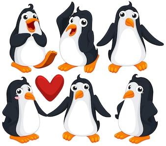 Cute pingüinos en diferentes poses ilustración