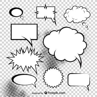De setas de nubes del vector cuadro de diálogo de estilo cómico