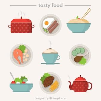 Deciosos platos con elementos de cocina