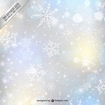 decoración borrosa con copos de nieve