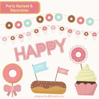 Decoración de fiesta con pasteles