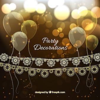 Decoración elegante dorada de cumpleaños