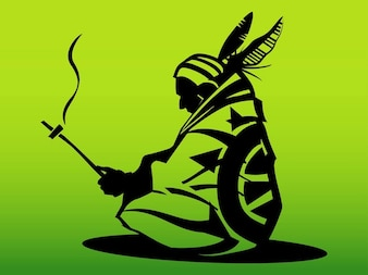 Decoraciones Hombre del nativo americano silueta