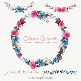 Decorativa corona floral de acuarela