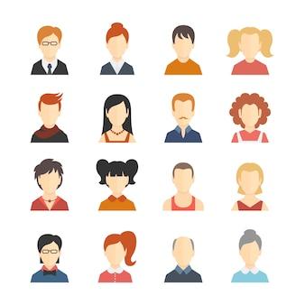 Decorativas de los medios de comunicación social de negocios de los usuarios de blogs de perfil avatar moda peinado diseño iconos colección aislado plana ilustración vectorial