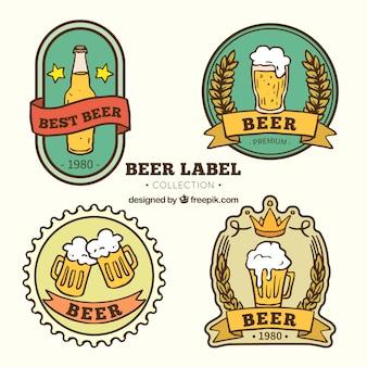 Decorativas pegatinas retro de cerveza