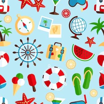 Decorativas verano vacaciones tropicales símbolos de la playa sandía cóctel recuerdo wrap papel patrón transparente ilustración vectorial abstracto
