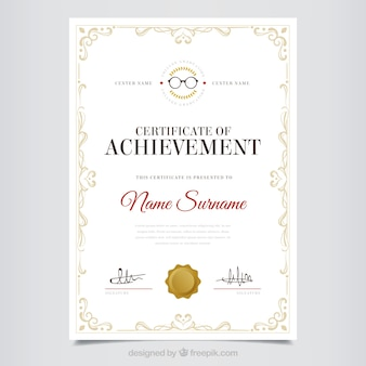 Decorativo diploma de mérito con marco clásico