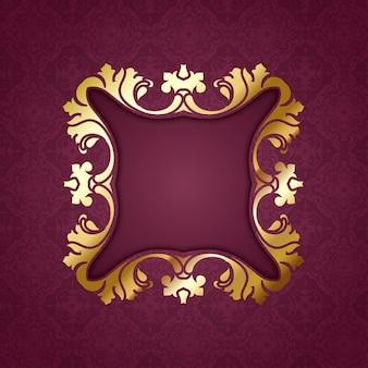 Decorativo marco dorado sobre un fondo rojo