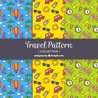 Decorativos patrones de viaje dibujados a mano