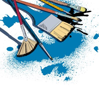 Decorativos pinceles planos pinceles de pintura y plumón pluma tinta manchas plantilla cartel dibujo ilustración vectorial