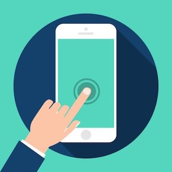 Dedo sobre un teléfono móvil