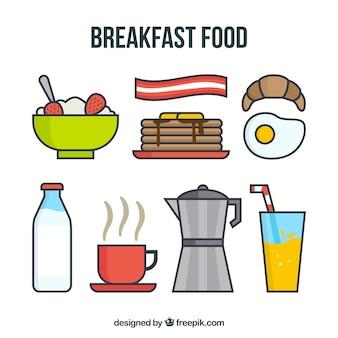 Deliciosa comida para desayuno con cafetera