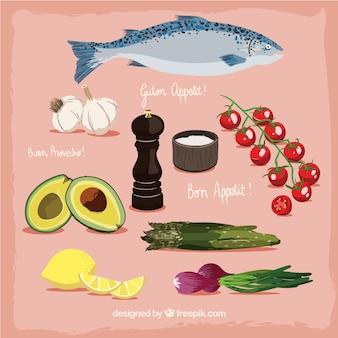 Deliciosa comida saludable dibujados a mano
