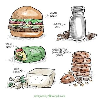 Deliciosa comida vegana de acuarela dibujada a mano