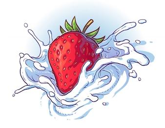 Deliciosa fresa fresca cayendo en crema o leche.