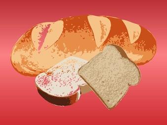 Deliciosa rebanada de pan vector