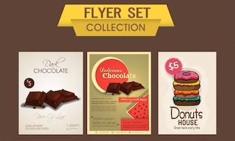 Delicioso chocolate y panqueques dulces flyer, plantilla o banner conjunto, concepto de Alimentos y Bebidas