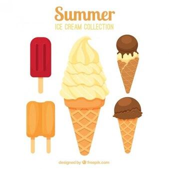 Deliciosos helados con barquillo
