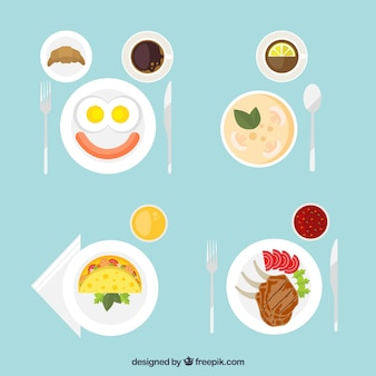 Deliciosos platos en vista superior