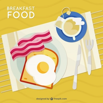 Desayuno plano en una vista superior