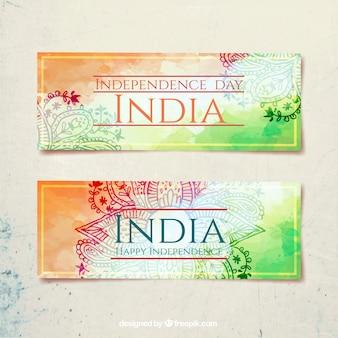 Día de la independencia de india, banners de acuarelas