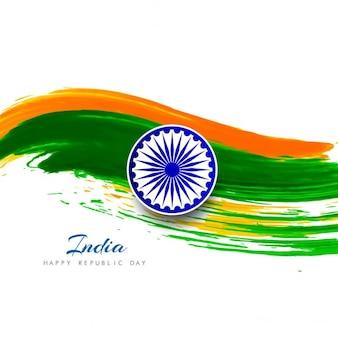 Día de la república de la india, acuarela ondulada